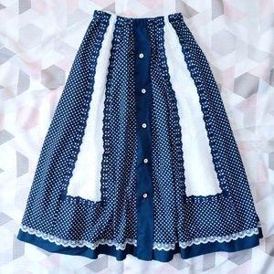 Vintage Blue White Lace Festival Boho Dance Skirt